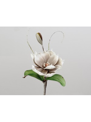 Magnolienzweig grau-weiss