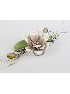 Tischdeko Magnolie grau-weiss