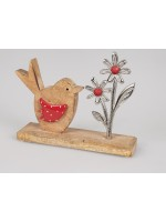 Formano Vogel mit Blume Alu-Mango rot
