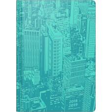 Brunnen Schülerkalender Manhattan türkis A5 2 Seiten 1 Woche Kunstleder Einband