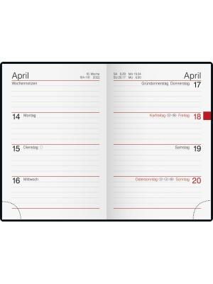 rido/idé Taschenkalender Modell partner/Industrie I Leder-Einband schwarz 70-16 168 902