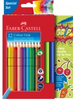 Faber-Castell Colour Grip Buntstift 12er Kartonetui inkl. 2 Grip Filzstifte